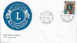 Fdc Flavia : LIONS (1967); No  Viaggiata ;AF_Milano - F.D.C.