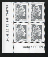 COIN DATE YSEULT YZ - L'ENGAGEE - ECOPLI - BLOC DE 4 - DATE : 24/02/20 - NEUF - TTB - 2010-....