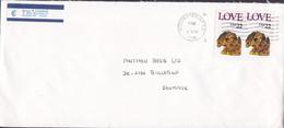United States ROCHESTER NY 1986 Cover Brief BALLERUP Denmark 2x LOVE Dog Hund Chien Stamps - Briefe U. Dokumente