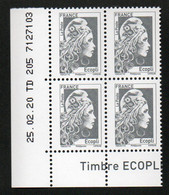 COIN DATE YSEULT YZ - L'ENGAGEE - ECOPLI - BLOC DE 4 - DATE : 25/02/20 - NEUF - TTB - 2010-....