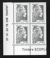 COIN DATE YSEULT YZ - L'ENGAGEE - ECOPLI - BLOC DE 4 - DATE : 27/01/20 - NEUF - TTB - 2010-....