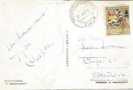 POSTAL CON MAT DE LA UNIVERSIDAD LABORAL DE GIJON ASTURIAS - 1961-70 Storia Postale
