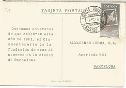 BARCELONA TP CON MAT AGENCIA AUXILIAR ALMACENES JORBA 1961 - 1961-70 Storia Postale