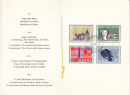Switzerland 1958 Commemoratives 4v In Faltblatt Ca Berne Jour D'emission (54149) - Cartas