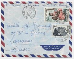 OCEANIE 4FR+ PA 14FR LETTRE AVION UTUROA 17.2.1954 ILE RAIATEA POUR SUISSE - Covers & Documents