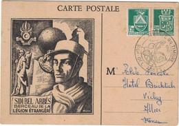 Algérie - Sidi-Bel-Abbes - Berceau De La Légion étrangère - Carte Maximum - Pour Allier (France) - Correspondance - 1945 - Maximum Cards