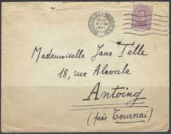 N°140. 20c Paars - Op Brief Stempel 03/09/1921 Bruxelles >> Antoing (près Tournai) - Covers & Documents