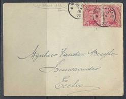 N°138 X2. 10c Karmijn - Op Brief Stempel 14/03/1922 Eecloo - Covers & Documents