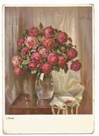 AA2932 Fiori Fleurs Flowers - J. Frank - Dipinto Paint Peinture / Non Viaggiata - Flowers