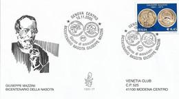 Fdc Venetia 2005: GIUSEPPE MAZZINI; Viaggiata; AS - F.D.C.