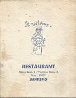 PY / MENU Restaurant U NOSTROMU Marin SANREMO  ITALIE - Menus