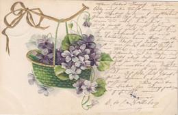 A796) BLUMENKORB Mit Geschenksschleife - Alte PRÄGE AK - 1905 - Flowers