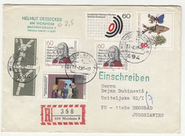 Germany Multifranked Letter Cover Posted Registered 1981 Weinheim To Beograd B211015 - Briefe U. Dokumente