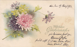 A797) Herzlichen Glückwunsch - BLUMEN AK - PRÄGE AK - 1906 Cöln - Flowers