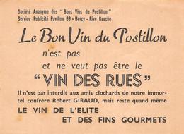 P-21-BBT-DOCS-GF-625 :  PROSPECTUS LE BON VIN POSTILLON BERCY PARIS. PAS LE VIN DES RUES. VAGABON. POIVROT. ALCOOLISME - Otros