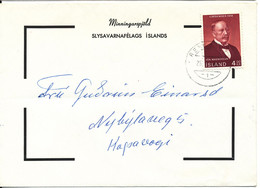 Iceland Condolence Cover Reykjavik 25-11-1968 Single Franked (bended Cover) - Covers & Documents