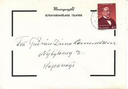 Iceland Condolence Cover Reykjavik 26-11-1968 Single Franked (bended Cover) - Covers & Documents