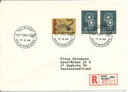 Finland Registered Cover Sent To Germany NORDIA1966 Helsinki 11-6-1966 Postmark - Briefe U. Dokumente