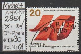 """1985 - DDR -:SM """"40.Jahrestag D.Gründg D.dt. Gewerkschaftsbundes"""" 20 Pfg. Mehrf -o Gestempelt- S.Scan (2951o 01-03 Ddr) - Gebraucht"""