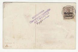 Germany WWI Belgium Occupation - 1 Postcard, 1 Letter Cover And 2 Letter Cover Cutouts B211015 - Besetzungen 1914-18