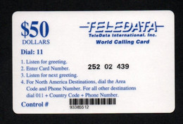 "TELEDATA ""HARRIS $50"" - Carte Plastifiée Format TC - Army"