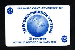 """TELECOMMUNICATION SYSTEMS """"HARRIS $25"""" PAS VALIDE AVANT LE 7 JANVIER 1997 - Carte Format TC - RARE - Army"""