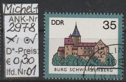 "1985 - DDR -:SM A. Satz ""Burgen Der DDR - B. Schwarzenberg""  35 Pfg. Mehrf - O Gestempelt - S.Scan (2978o 01-02   Ddr) - Gebraucht"