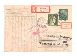 2. WK Einschreiben Reko Postkarte V. Hittisau Vorarlberg N. Ungarn Zensur Geprüft - Covers & Documents