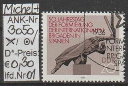 "1986 - DDR - SM ""50.Jahrestag D. Internat. Brigaden""  20 Pfg. Mehrf - O Gestempelt - S.Scan (3050o 01-03    Ddr) - Gebraucht"