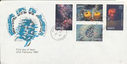Jamaica FDC 27-2-1981 Marine Life Of Jamaica Complete Set Of 4 With Cachet - Jamaica (1962-...)