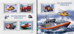 Togo 2021, Special Transport, Elicopter, Car, Boat, Truck, 4val In BF +BF - Firemen