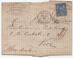 1879 TYPE SAGE 15 C. BLEU OBLITERE MONACO SUR PLI POUR NICE (ref 8622) - 1876-1898 Sage (Type II)