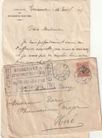 Lettre De Tourane Du 10 11 1917 Avec  Cachet Souscrivez A L'Emprunt National Bilingue - Covers & Documents