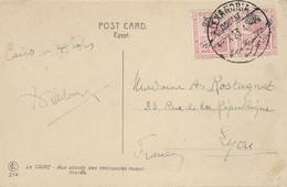 1923- C P A Du Caire Affr. 10 Mill. Oblit. ALEXANDRIA  / DOUANE - Briefe U. Dokumente