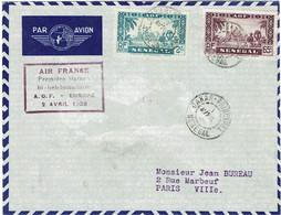 CTN74 - SENEGAL LETTRE AIR - FRANCE 1/4/1938 - Airmail