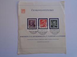 D185133 Czechoslovakia  Praha 1  1949  -  50h Hviezdoslav, 80h Vancura, 1K Sverma - Used Stamps