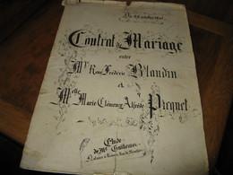 TRES BEAU CONTRAT DE MARIAGE CALLIGRAPHIE A LA FACON DES MANUSCRITS MEDIEVAUX 1895 FAMILLE RENNES - Manuscripts