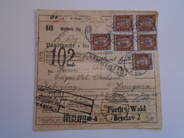 D185135 PAKETKARTE  Wielenbach B. Weilheim In Oberbayern 1931 -Zebegény -Plzen  Breclav -Furt I.Wald- Custom Hungary - Briefe U. Dokumente