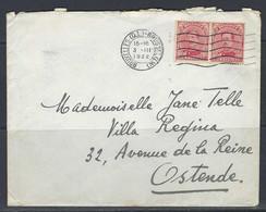 N°138 X2. 10c Karmijn - Stempel Op Enveloppe 03/03/1922 Bruxelles >> Ostende. - Covers & Documents
