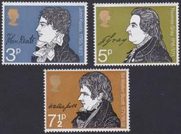GRANDE-BRETAGNE, 1971, Commémoration Littéraire (Yvert 640 Au 642 ) - Unused Stamps