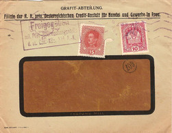 """Enveloppe Affranchie à 15 + 10 Heller. Obl. 22/07/1918 + Tamponner """"Freigegeben"""". - Covers & Documents"""