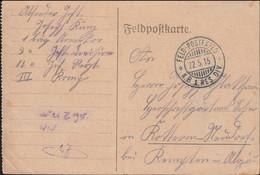 German Feldpost WW1: Infanterie Regiment 12 Posted 22.5.1915 By KB 1. Reservedivision - Card (DD33-19) - WW1 (I Guerra Mundial)