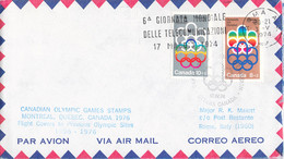 Canada Flight Covers FDC 1976 Montreal Olympic Games - Flown To Previous Olympic Sites: Rome (DD33-19) - Verano 1976: Montréal