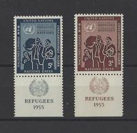 NATIONS UNIES  YT  New York  N° 27/28  Neuf **  1954 - Unused Stamps