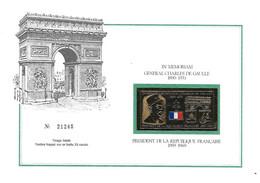 Encart In Mémorium Général De GAULLE - Tirage Limité Timbre Frappé Or Battu 23 Carats - N° 21245 - Arc De Triomphe Paris - Briefe U. Dokumente