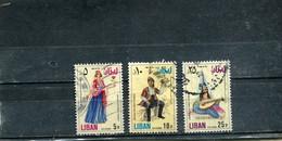 Liban 1973 Yt 568-569 571 Timbres Pour La Poste Aérienne Costumes Anciens - Lebanon