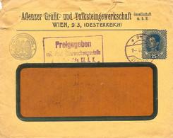 """Enveloppe Affranchie à 25 Heller. Obl. Tampon étoile à Wien 25/03/1918 + Tamponner """"Freigegeben"""" + KUK Kriegsministerium - Covers & Documents"""