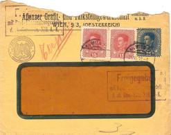 "Enveloppe Affranchie à 25 + 15 + 15 Heller. Obl. à Wien 21/06/1918 + Tamponner ""Freigegeben"" + K.U.K. Kriegsministerium. - Covers & Documents"