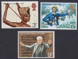 GRANDE-BRETAGNE, 1972, Commémoration Toutankhamon, Compositeur (Yvert 657 Au 659 ) - Unused Stamps