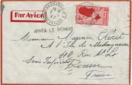 """CTN74 - MADAGASCAR LETTRE AVION TANANARIVE / ROUEN 9/6/1939 """"APRES LE DEPART"""" - Airmail"""